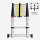 Todeco Foldable Ladder, Telescopic ladder, 3.8 meters (12.5 feet), Stabilizing bar, Size: 380-86 x 47.5 x 8 cm (147-34 x 19 x 3 inch), Material: Aluminium alloy